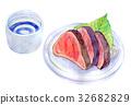 水彩插图食物鲣鱼 32682829