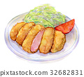 Water color illustration food pork cutlet 32682831