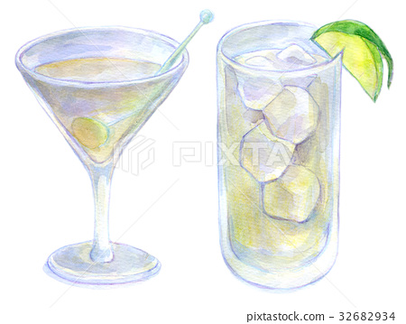 Watercolor illustration food cocktail 32682934