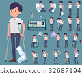 flat type White short sleeved men_sickness 32687194