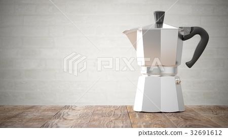 3D Rendering Italian metallic coffee maker on wood 32691612