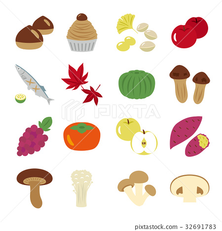 秋之美食 图标 插图 32691783