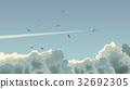 Horizontal illustration of plane among clouds. 32692305