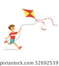 Happy boy enjoying flying kite, kids outdoor 32692539