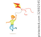Happy boy running with his flying kite, kids 32692545