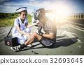 Asia cyclist injured on the street bike 32693645