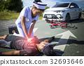 Female nurse helping Emergency CRP on bicycle man 32693646