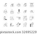 Symbol of Higiene Black Thin Line Icon Set. Vector 32695229