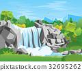 Cartoon Waterfall Landscape Background. Vector 32695262