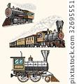 engraved vintage, hand drawn, old locomotive or 32695551