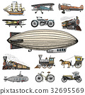 Submarine, boat and car, motorbike, Horse-drawn 32695569