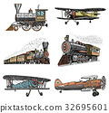 set of passenger train and airplanes corncob or 32695601