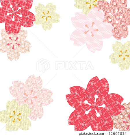 Japanese pattern background vector.Cherry blossom. 32695854