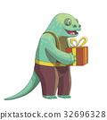 Cartoon lizard character, vector drawing 32696328