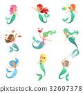 mermaid, vector, beautiful 32697378