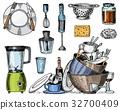 colander, blender and juicer, dirty dishes, jam 32700409