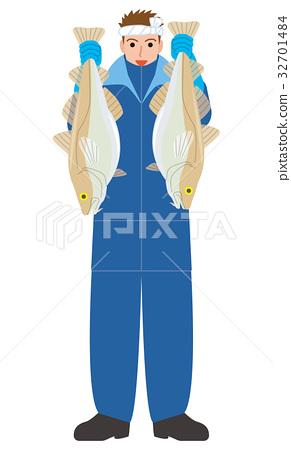 어부 수산업 대구 어부 32701484