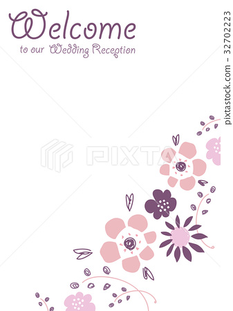 Welcome board of flower illustration 32702223