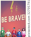 Group of superheroes kids with aspiration word graphic 32705791