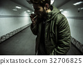 Homeless Adult Man Smoking Cigarette Addiction 32706825