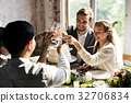 People Cling Wine Glasses on Wedding Reception with Bride and Groom 32706834