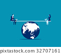 Business person balanced on seesaw over globe. 32707161