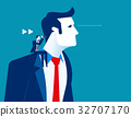 Business person sitting on the shoulder of giant. 32707170