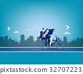 Business teams riding bicycle to success. 32707223