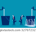 Businessman and leaking bucket. 32707232