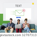 Group of people using digial devices with email icon 32707313