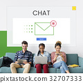 Group of people using digial devices with email icon 32707333