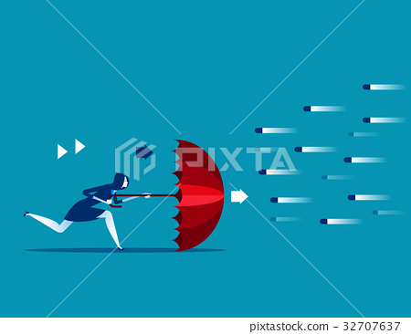 Financial risk. Businessman Tied with rope. 32707637