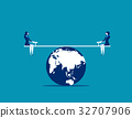 Businesswomen balanced on seesaw over globe. 32707906