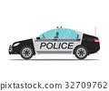 Police car side view isolated on white background. 32709762