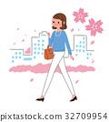 歩く 女性 桜 32709954