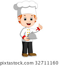 chef boy holding plate dish 32711160