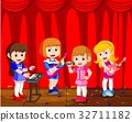 little kids playing music in a music band 32711182