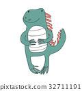 Cute cartoon iguana character, vector isolated 32711191