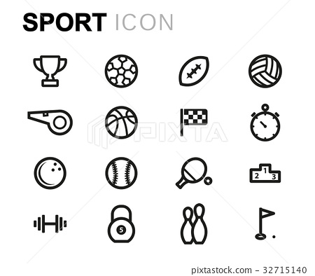 Vector line sport icons set 32715140