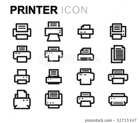Vector line printer icons set 32715147