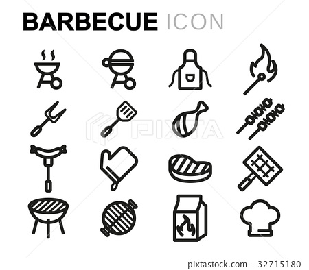 Vector line barbecue icons set 32715180