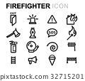 Vector line firefighter icons set 32715201