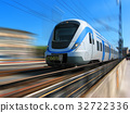 High-speed train with motion blur 32722336