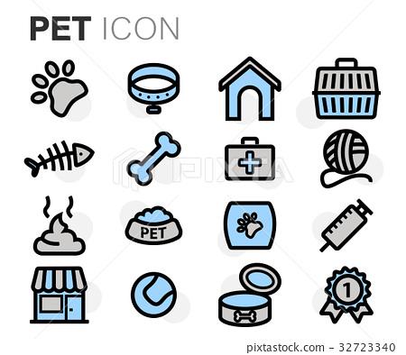 Vector flat line pet icons set 32723340