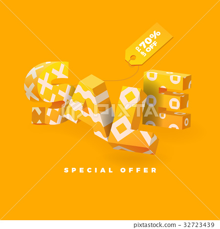 sale 3D sign yellow 32723439