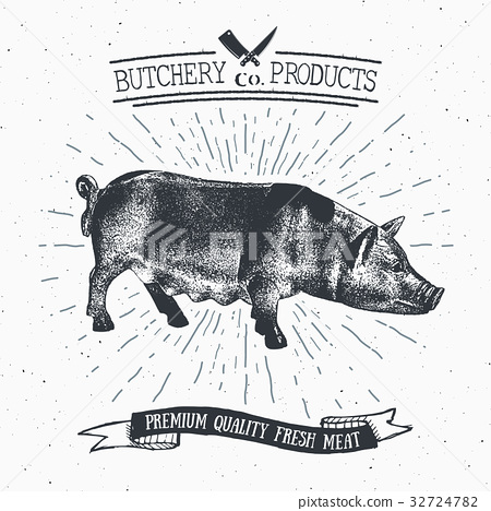 Butcher Shop vintage emblem pork meat vector 32724782