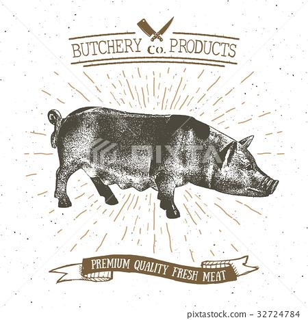 Butcher Shop vintage emblem pork meat vector 32724784