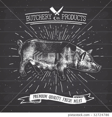 Butcher Shop vintage emblem pork meat vector 32724786
