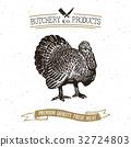 Butcher Shop vintage emblem turkey meat vector 32724803