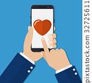 smartphone, hand, heart 32725611
